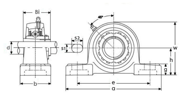 Bearing unit & insert UKP211 - KML